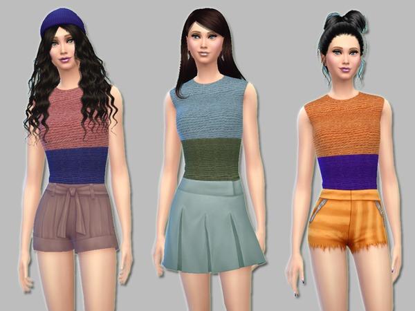 Crochet Colorblock Tops by Simlark at TSR image 2249 Sims 4 Updates