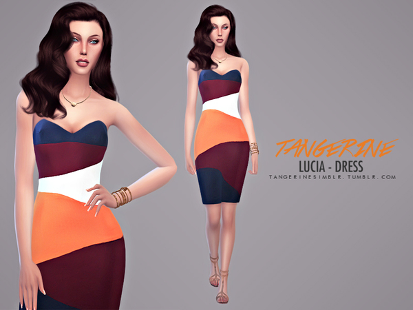 Sims 4 Lucia dress by Tangerine at Sims Fans