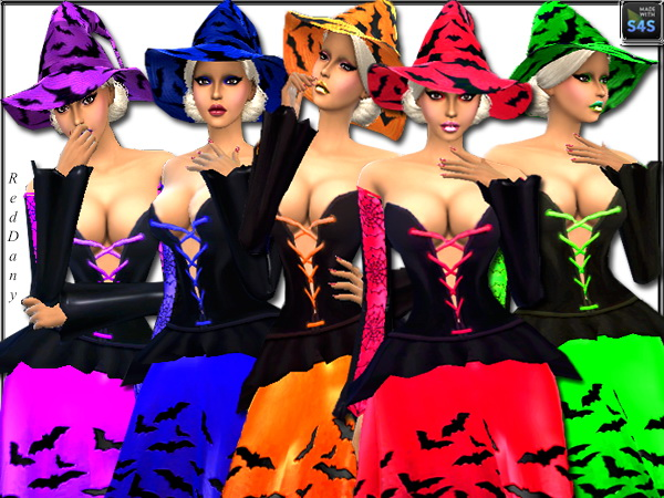 Sims 4 Halloween Witch Clothing & hat at Dany's Blog