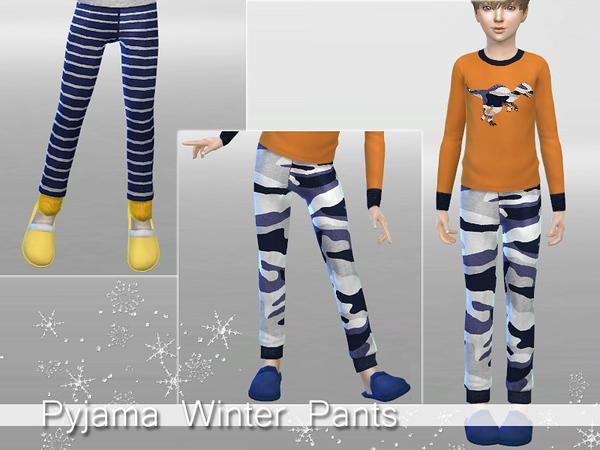Sims 4 Winter Pyjama Set for Boys by Pinkzombiecupcakes at TSR