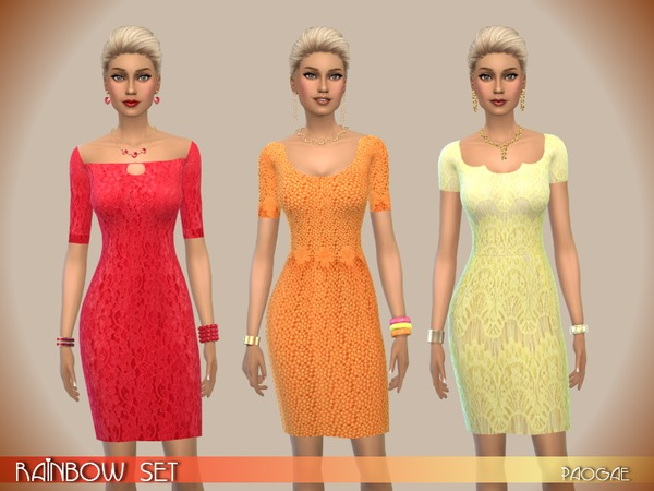 Sims 4 Rainbow dresses set by Paogae at TSR