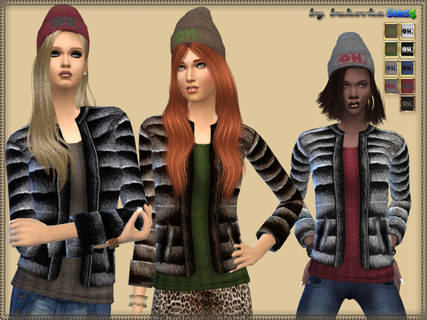 Sims 4 Set Cap and Jacket by bukovka at TSR