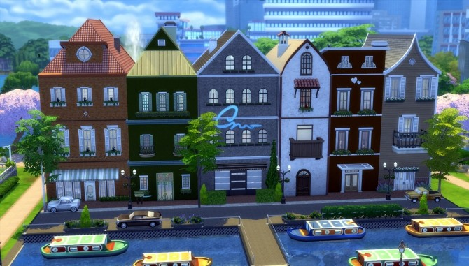 Little Amsterdam NoCC 6 Row House by una at Mod The Sims image 2817 670x381 Sims 4 Updates