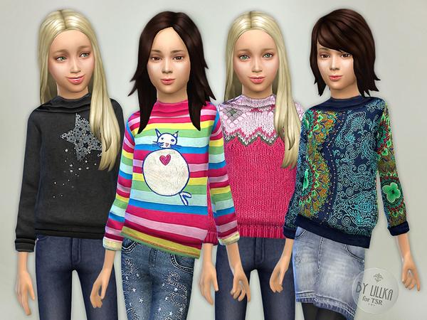 Printed Sweatshirt for Girls P07 by lillka at TSR image 3101 Sims 4 Updates