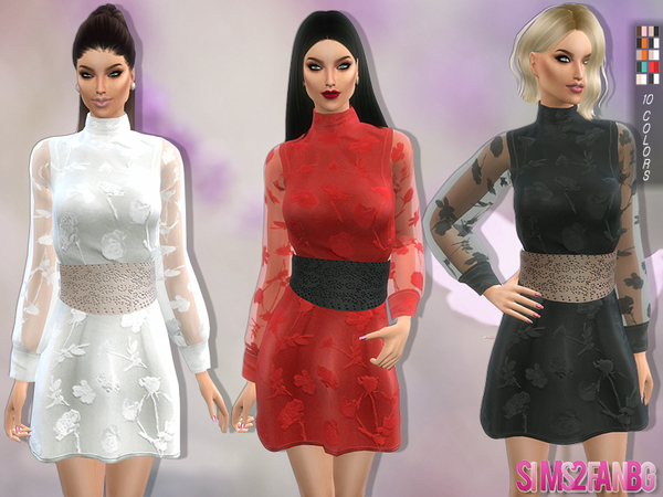 Sims 4 109 Dress with belt and transparent sleeves by sims2fanbg at TSR