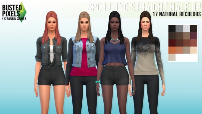 Sims 4 SP01 long straight half up at Busted Pixels