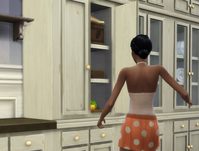 Sims 4 Fitted Country Kitchen Cupboard by plasticbox at Mod The Sims