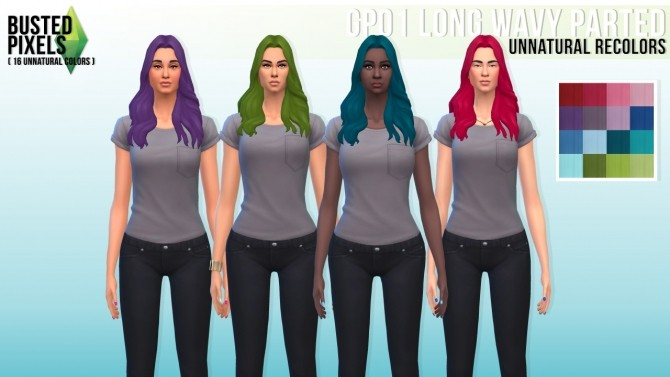 Sims 4 Long wavy parted recolors at Busted Pixels