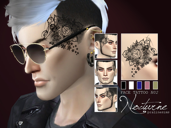 Face Tattoo Nocturne N02 By Pralinesims At Tsr 187 Sims 4