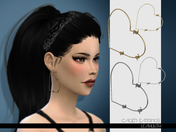 Sims 4 Caged Earrings by LeahLilith at TSR