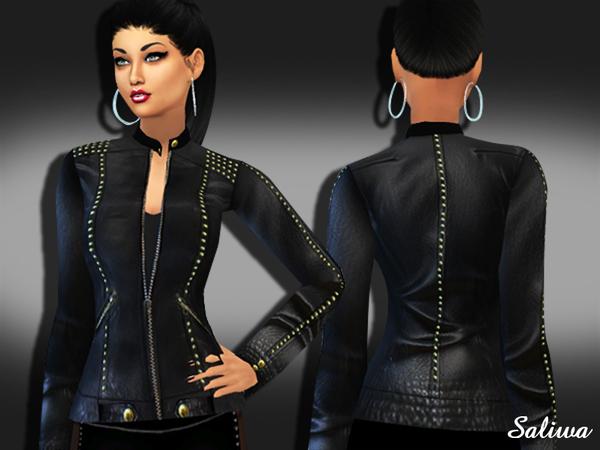 Realistic Designer Leather Jacket by Saliwa at TSR image 3712 Sims 4 Updates