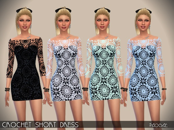 Crochet Short Dress by Paogae at TSR image 398 Sims 4 Updates