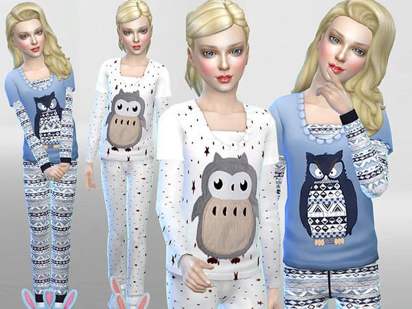 Winter Owl Pyjama Set by Pinkzombiecupcakes at TSR image 4103 Sims 4 Updates