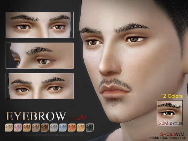 Sims 4 Eyebrows 20M by S Club WM at TSR