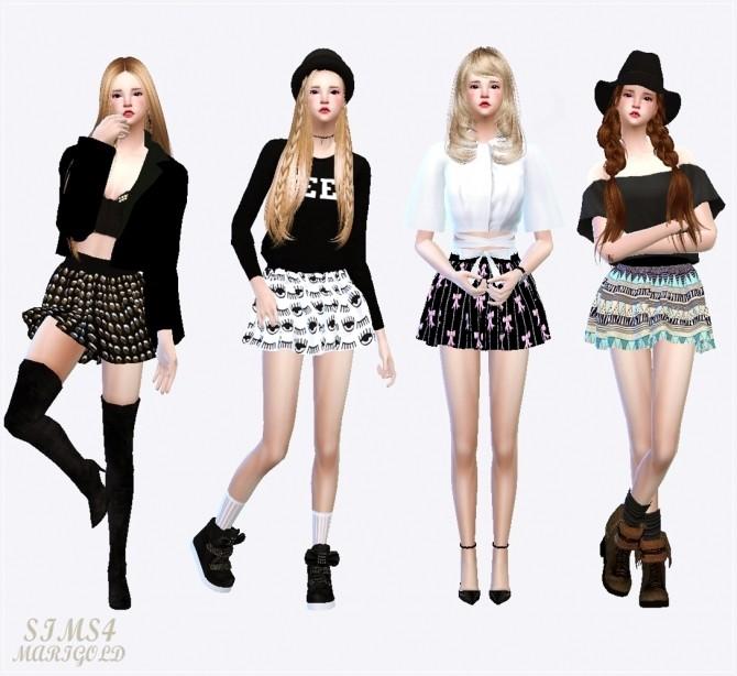 Pattern flare mini skirt v1 various at Marigold image 420 670x614 Sims 4 Updates