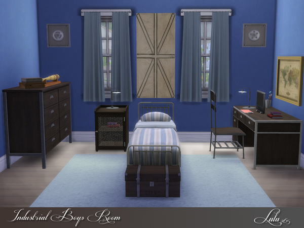 Sims 4 Industrial Boys Room by Lulu265 at TSR