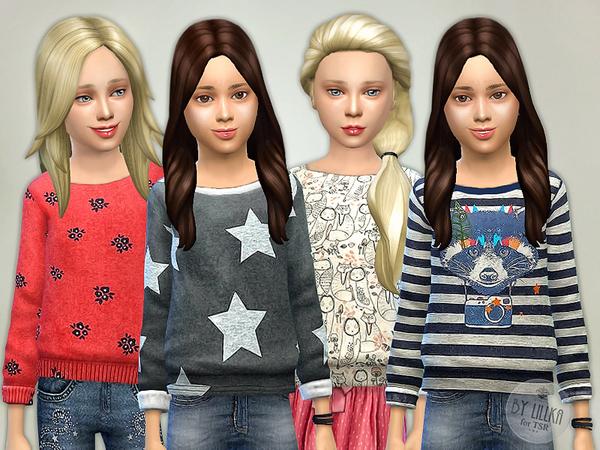 Sims 4 Printed Sweatshirt for Girls P06 by lillka at TSR