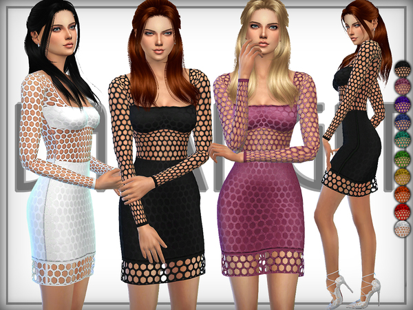 Sims 4 Net Dress by DarkNighTt at TSR