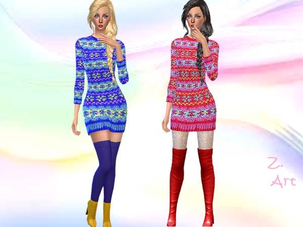 Sims 4 Colorful Knitting dress by Zuckerschnute20 at TSR