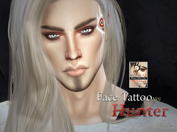 Face Tattoo HUNTER N01 by Pralinesims at TSR image 507 Sims 4 Updates