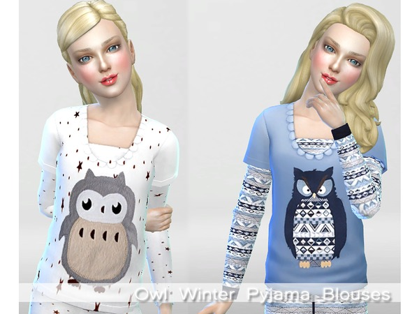 Winter Owl Pyjama Set by Pinkzombiecupcakes at TSR image 5100 Sims 4 Updates