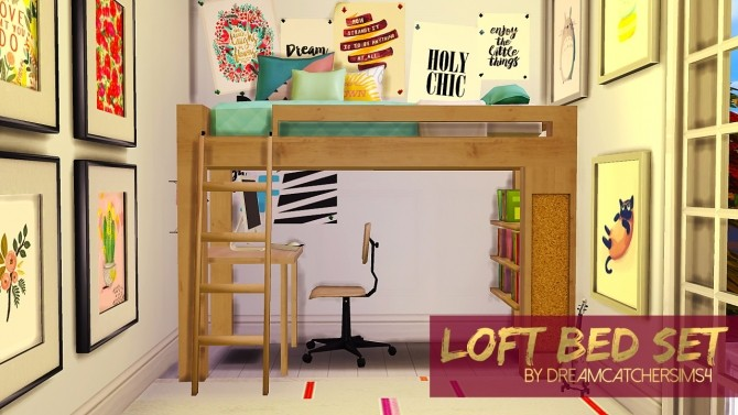 Sims 4 Loft Bed Set at DreamCatcherSims4