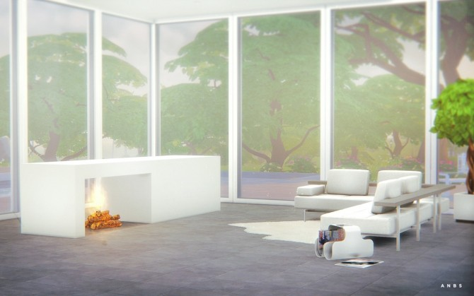 Sims 4 Modern Fireplace at Alachie & Brick Sims