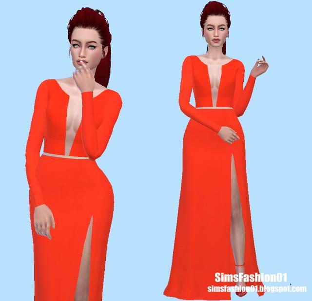 Orange Dress at Sims Fashion01 image 5211 Sims 4 Updates