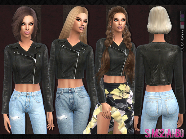 Sims 4 103 Leather jacket by sims2fanbg at TSR