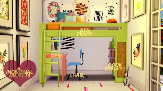 Loft Bed Set at DreamCatcherSims4 image 526 670x377 Sims 4 Updates