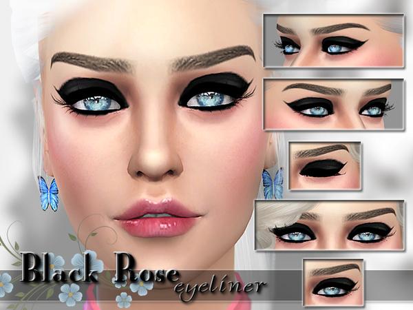 Sims 4 Black Rose Eyeliner by Pinkzombiecupcakes at TSR