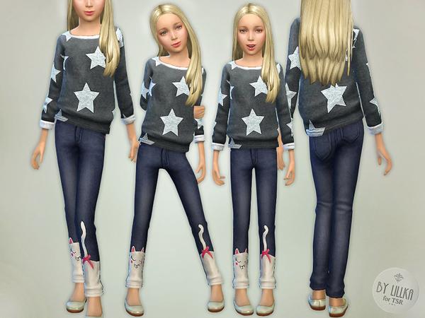 Sims 4 Sweet Cat Denim Jeans by lillka at TSR