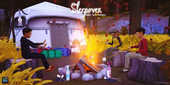 Sims 4 SLEEPOVER: Sleeping bags & Poses at In a bad Romance