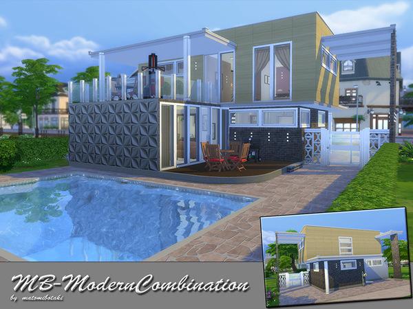 Sims 4 Modern Combination house by matomibotaki at TSR