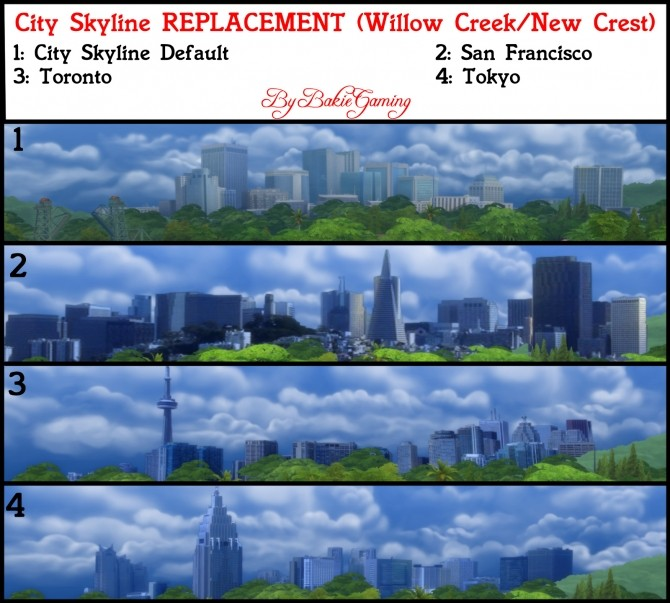 Sims 4 City Skyline Replacements Pack 3 by Bakie at Mod The Sims