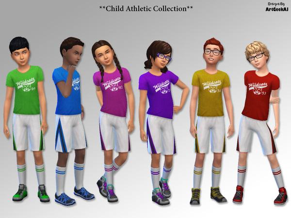 Sims 4 Child Athletic School Sports Team T Shirt, Shorts & Sock Set by ArtGeekAJ at TSR