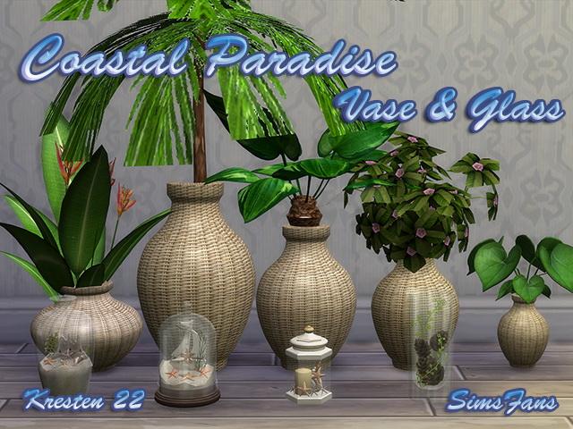 Sims 4 Coastal Paradise Vase & Glass by Kresten 22 at Sims Fans