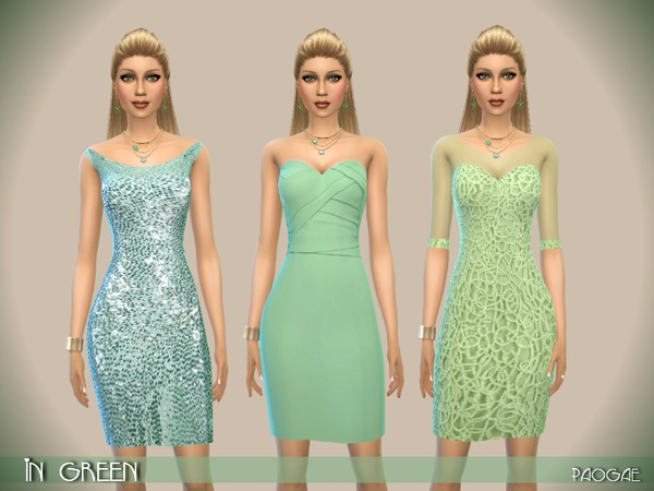 Sims 4 InGreen dress by Paogae at TSR