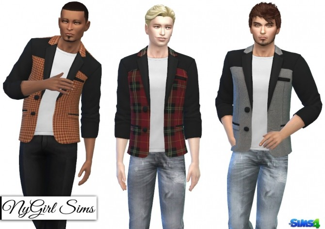 Sims 4 Black and Patterened Suit Jacket with White Tee at NyGirl Sims