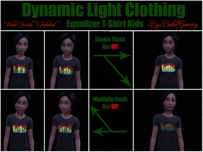 Sims 4 Dynamic Light Equalizer T Shirt Kids by Bakie at TSR