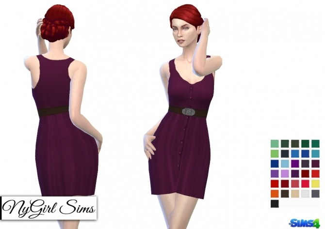Belted Button Up Tank Dress in Solids at NyGirl Sims image 7913 670x473 Sims 4 Updates