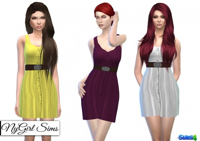 Belted Button Up Tank Dress in Solids at NyGirl Sims image 8014 670x473 Sims 4 Updates