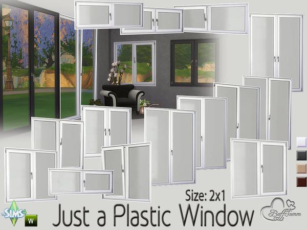 Sims 4 Just a Plastic Window (2x1) by BuffSumm at TSR