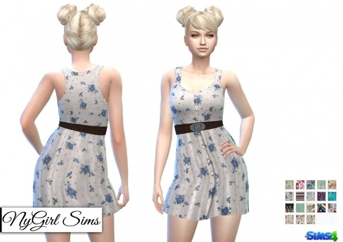 Belted Button Up Tank Dress in Prints at NyGirl Sims image 8117 670x473 Sims 4 Updates