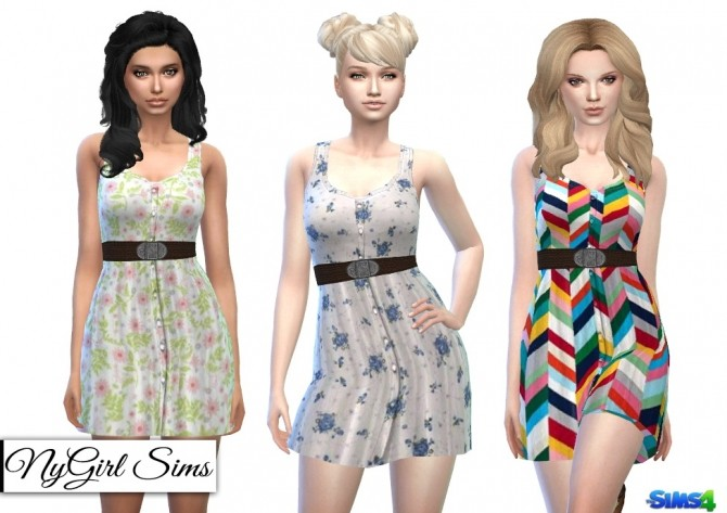 Belted Button Up Tank Dress in Prints at NyGirl Sims image 8212 670x473 Sims 4 Updates