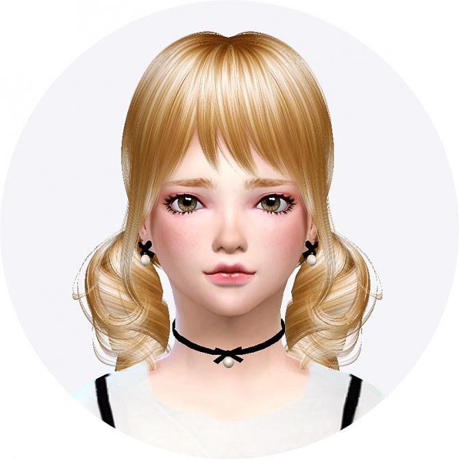 Child Thin Ribbon Choker & Earrings At Marigold » Sims 4