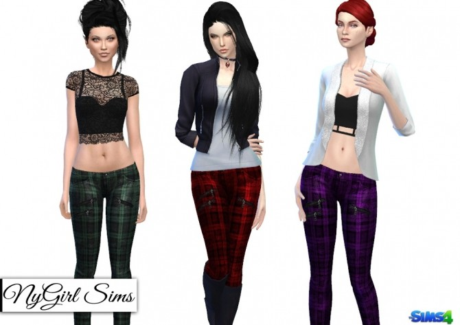 Sims 4 Plaid Zipper Skinny Jeans at NyGirl Sims