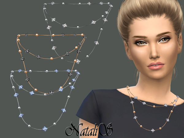 Sims 4 Double chain with beads and crystals by NataliS at TSR