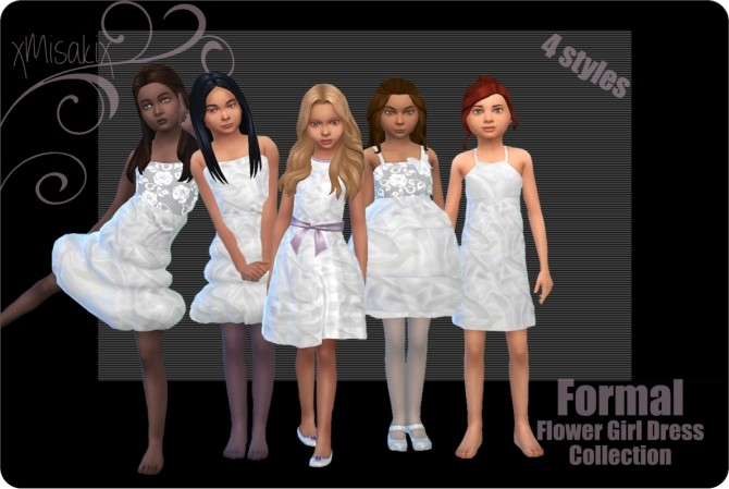 Sims 4 Flower Girl Dress Collection at xMisakix Sims