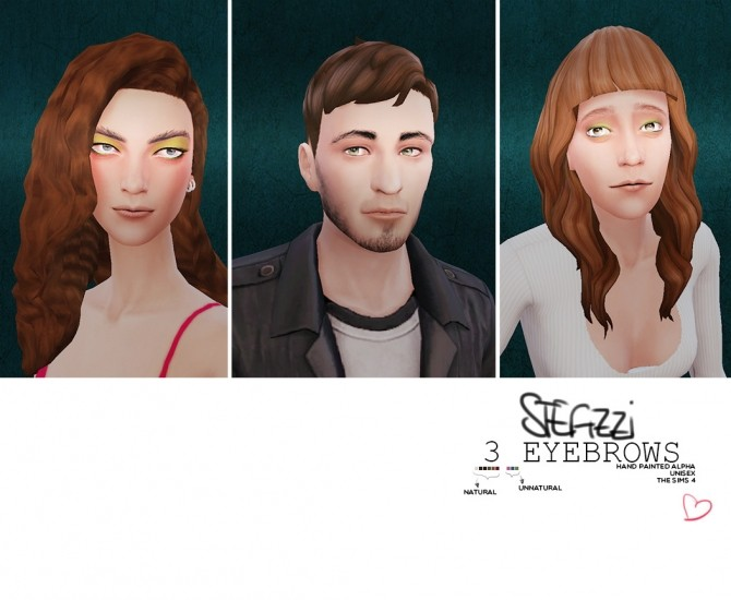 Sims 4 Eyebrows 01, 02 ,03 at Stefizzi